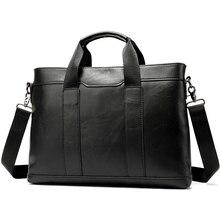 WESTAL mens briefcase leather laptop bag mens genuine leather office bag for mens business 14inch document messenger bag men