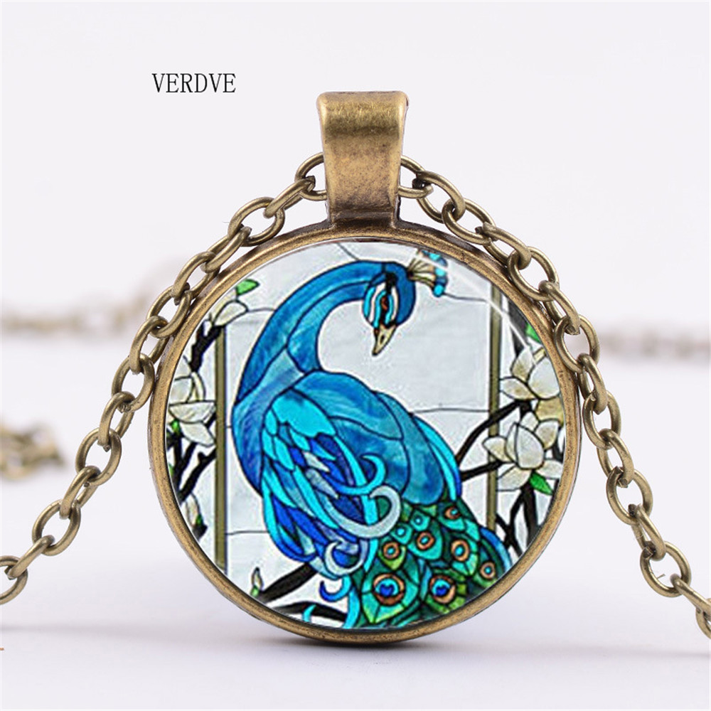 Buy VERDVE 3 colors / lovely colors peacock peacock feather necklace glass dome box pendant necklace bird animal jewelry gifts for only 1.23 USD