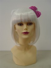 Fashional Synthetic Wigs Hello kitty Wig Style White Short BoBo Wigs 2014 High Quality Hot Products