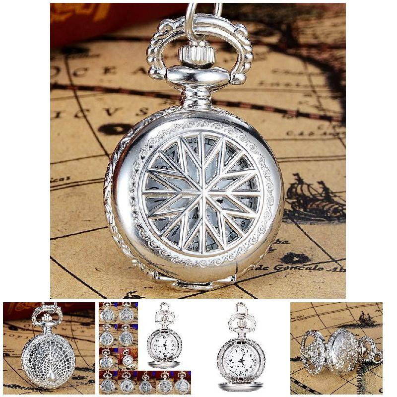 Fashion Unisex Pocket Watch Alloy Openable Craft Carving Vintage Quartz Necklace Pendant Chain Clock Gifts LXH vintage charm unisex fashion quartz steampunk pocket watch women man necklace pendant with chain gifts relogio de bolso