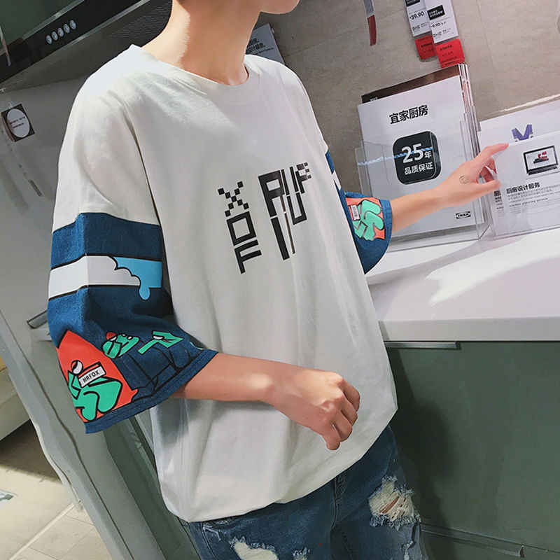 2019 Fashion Hip hop Half Sleeve Men T Shirt Oversized Men Tops Japan Style Cool Streetwear Drop Shoulder Cotton Tees Shirt Mens