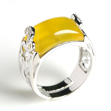 Original 925 silver inlaid natural chalcedony square egg noodle ring Men and women hand jewelry accessories