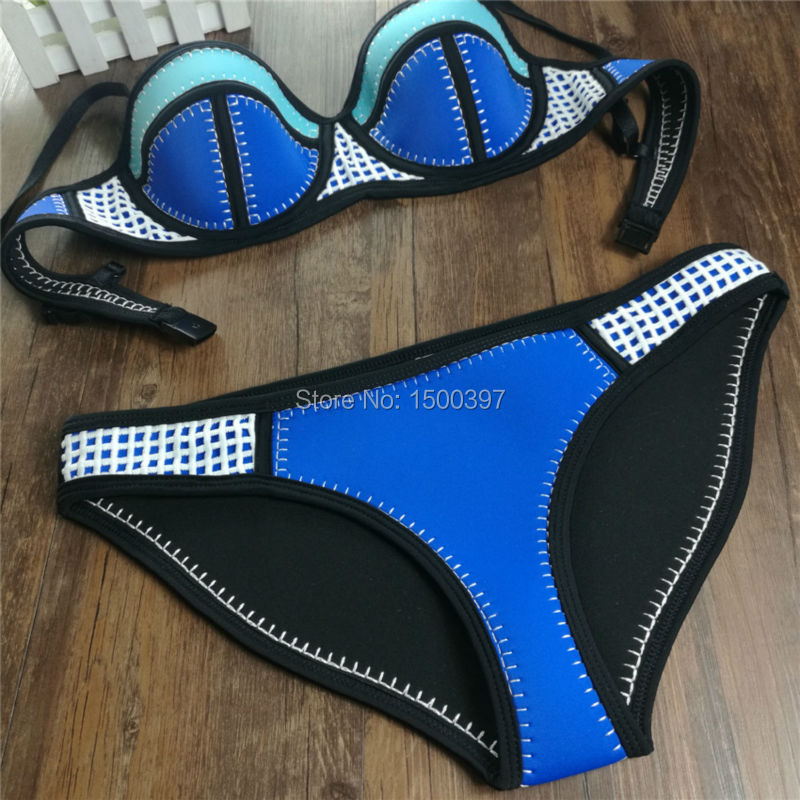 19 Neoprene push up bikini set women biquini sexy triangle swimwear crochet mesh high quality swimsuit bathing suits beachwear 6