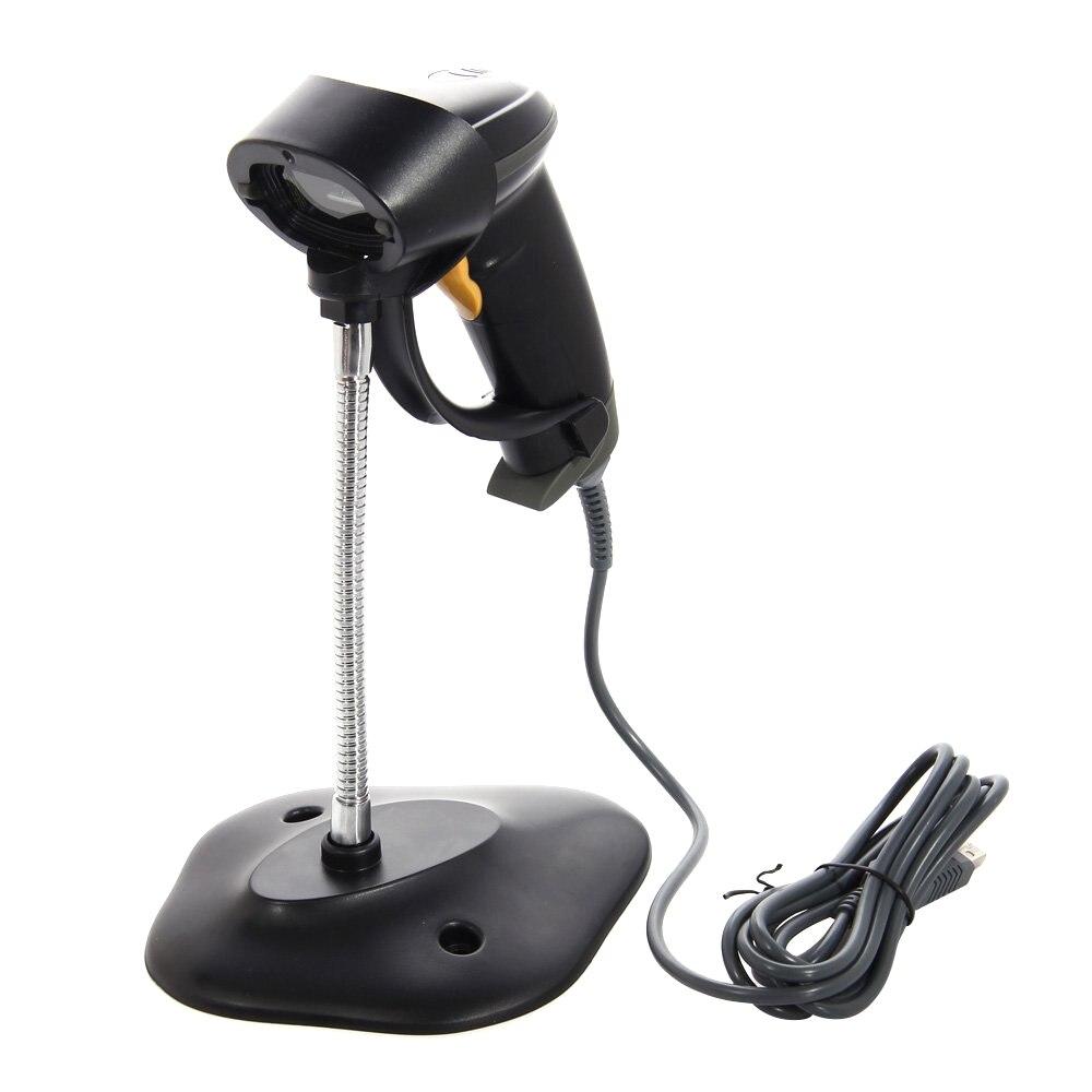Long Laser USB Port Handheld Barcode Scanner Bar Code Reader UPC EAN Scanning with Hands Free Adjustable Stand