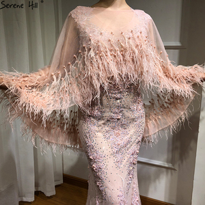 Image 4 - Розовые вечерние платья без рукавов с перьями и шалью из пряжи 2020, модные сексуальные вечерние платья русалки с кристаллами и жемчугом Serene Hill LA6608