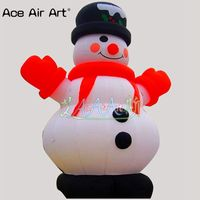 Family garden Xmax inflatable snowman wearing red scarf gloves for yard decorations