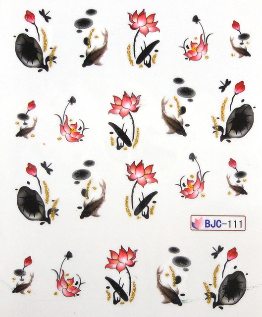 11 Designs Gold Glitter Water Decals Nail Art Wrap Flower Stickers Lotus Peony Orchid New Styles