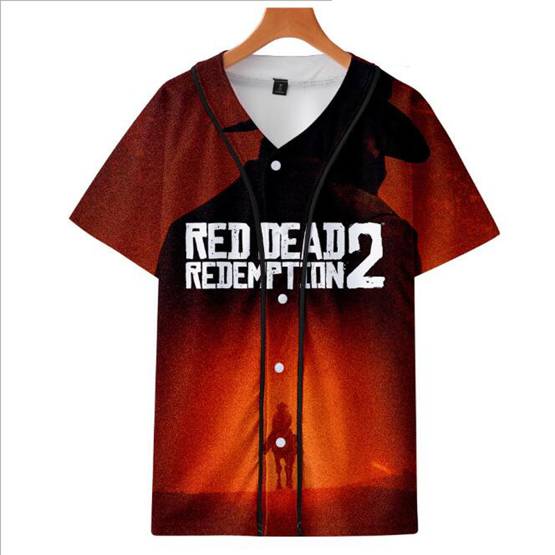 RED DEAD REDEMPTION 2 3D Print Short Sleeve Baseball T Shirt Hip Hop Cardigan Harajuku Baseball Uniform Male and Female T-Shirt