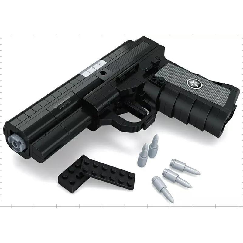 QSZ92 Semiautomatic Pistol Arms Model 1:1 3D 327pcs Black Model Brick Gun Building Block Set Toy Compatible With Legoes 3d paper model gun pistol hellboy revolver with bullets firearm oversized model