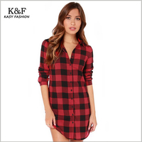 KASY Women Casual Plaid Shirt 2016 Summer Style Long Sleeve Red Black Check Design Cotton Shirt