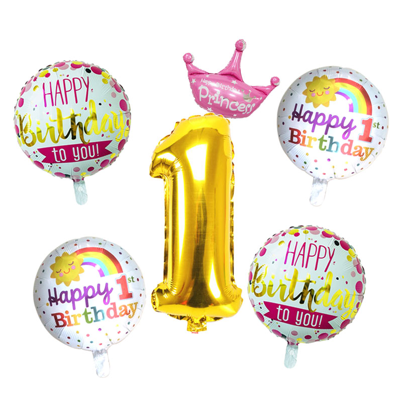 Gold Silver Number Foil Balloons Baby 1st Birthday balloon Birthday party decorations kids Boy Girl party decoration Baby Shower