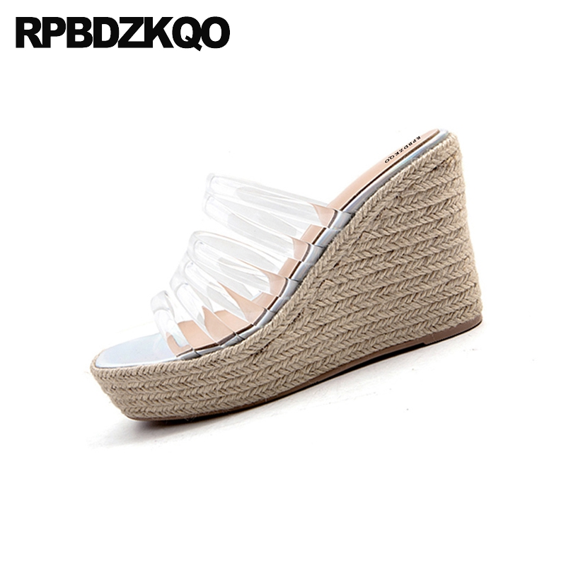 Pumps Slip On Transparent Strap Open Toe Women Fashion Designer Espadrilles 2018 Shoes Platform Wedge Sandals Summer Rope Pvc - 3
