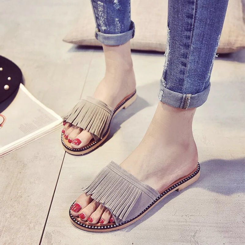Bailehou Women Slippers Flat Women shoes Beach Slip On Slides Flip Flops Sandals Fringe Crystal Slipper Tassel Mujer Zapatos covoyyar 2018 fringe women sandals vintage tassel lady flip flops summer back zip flat women shoes plus size 40 wss765