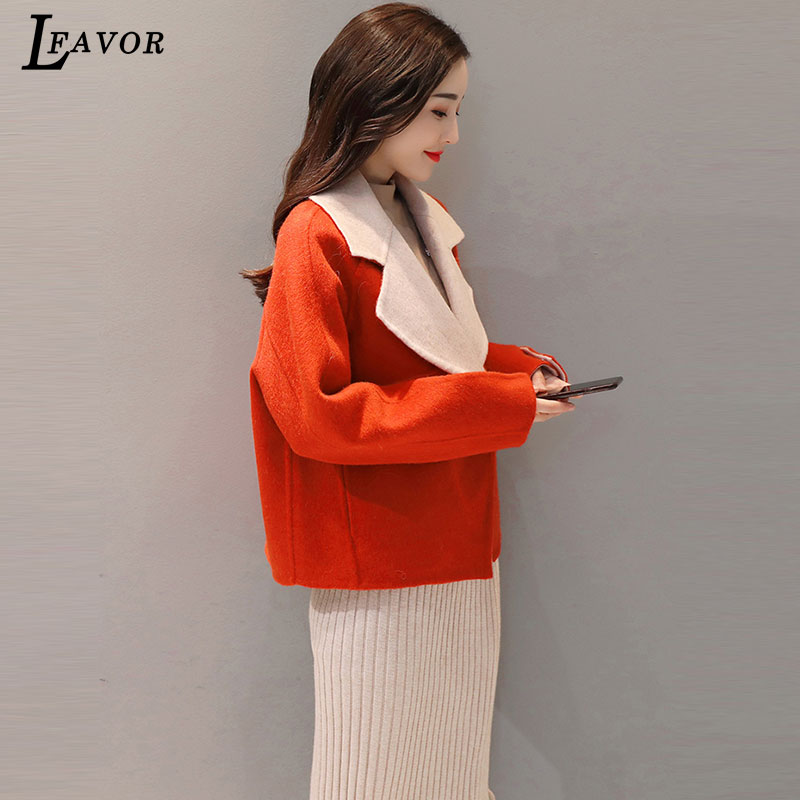 7c0104c863b7 Donna Street Allentato Giacca Modo Lana Corta 2019 Ccollar Femminile Orange  Del Della Imitazione Versatile Cappotto Abbigliamento Di ...
