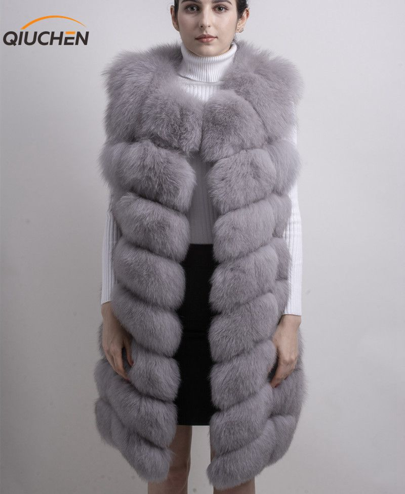 QIUCHEN PJ8032 2018 NEW high quality length real fox fur vest coat jacket 90cm long vest FREE SHIPPING