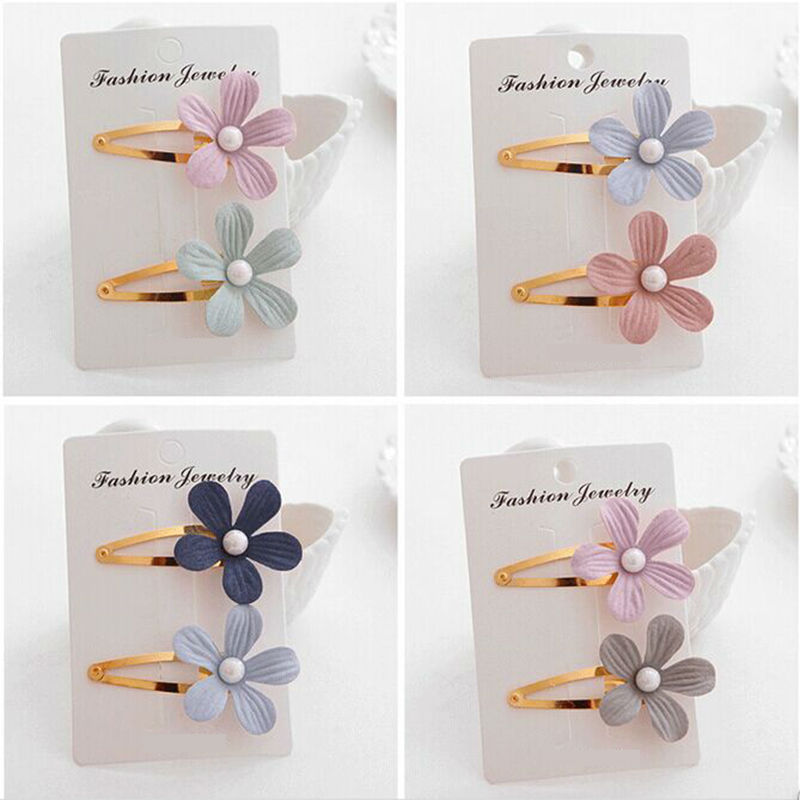 #AD17033 2pcs/pack Hairpin Wholesale Golden Metal Baby Bobby Pin Cotton Flower Hair Clips
