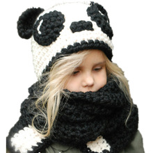 цены на 1-7 Y Baby Girls Pande Winter Hats Handmade Kids Hats Wrap Fox Scarf Caps Cute Autumn Children Wool Knitted Hats thick Cap  в интернет-магазинах