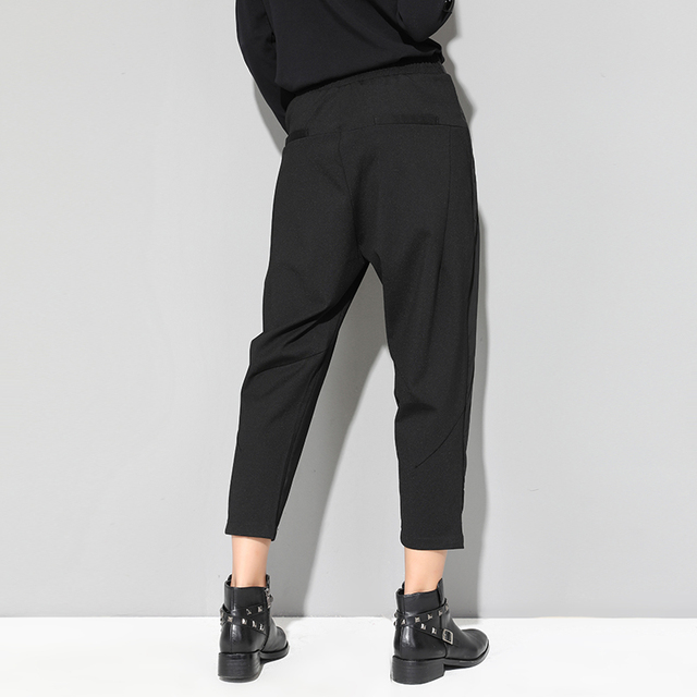 XITAO Black Tide Long Harem Pants Women Elastic Waist Button Fly Casual Modis Front Patchwork Female Trouser 2019 Autumn LJT3926 2