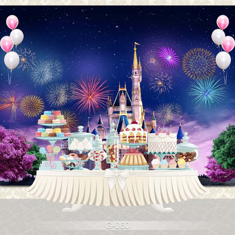 Vinyl Photography Background Ancient Castle Night Fireworks Dreamy Birthday Party Children Backdrops for Photo Studio G-060 vinyl cloth easter day children party photo background 5x7ft photography backdrops for party home decoation photo studio ge 072