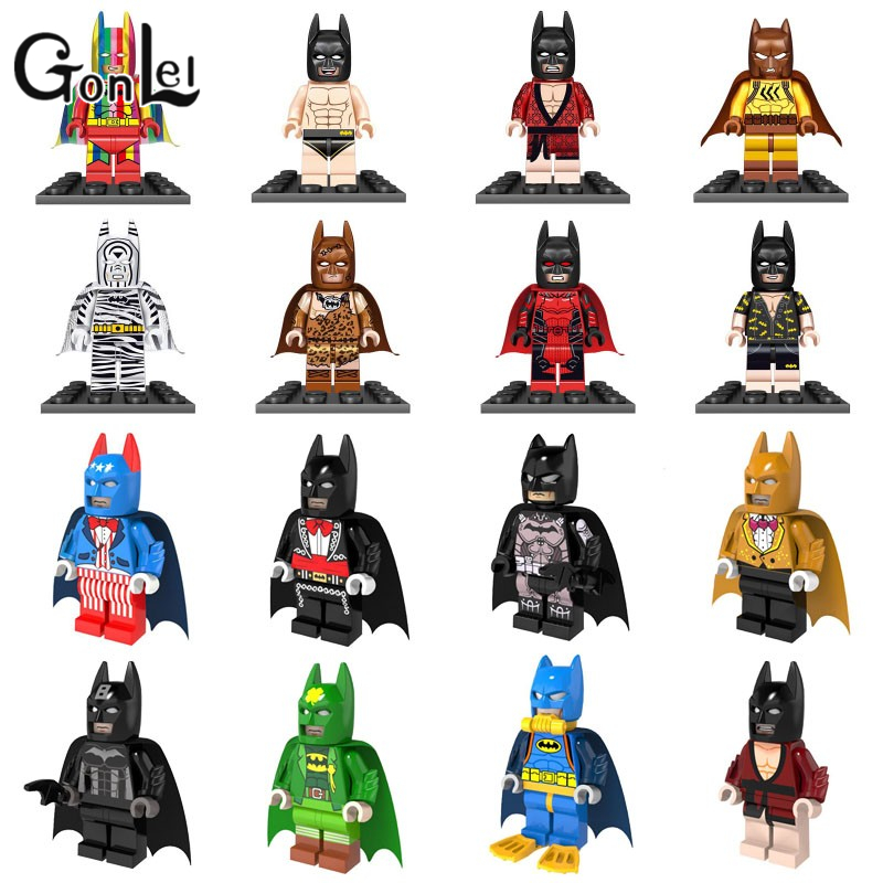 GonLeI marvel super heroes Suit Batman Zebra Detective Bat Man Rainbow  Building Blocks Toy Compatible Lepin rainbow suit batman zebra detective bat man the dark knight batman bruce wayne super heroes figures children gift toys kf1033