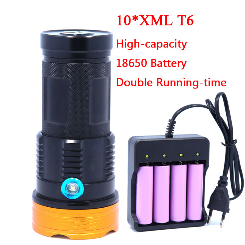 20000 LM Super Powerful 10T6 LED 10 x XM-L T6 LED Flashlight Torch Lamp Light With 2*18650 Rechargeable Batteries charger tinhofire t3 t4 t5 t6 t7 t8 t9 t10 t11 t12 cree t6 led 4000 20000 lm led torch camping flashlight lamp with battery and charger
