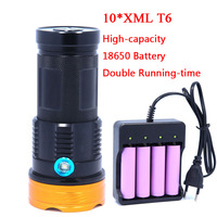 20000 LM Super Powerful 10T6 LED 10 x XM L T6 LED Flashlight Torch Lamp Light With 2*18650 Rechargeable Batteries charger