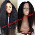 Virgin Brazilian Kinky Straight Full Lace Wig,Human Hair Lace Front Coarse Yaki Wig For Black Women,Italian Yaki Lace Front Wig