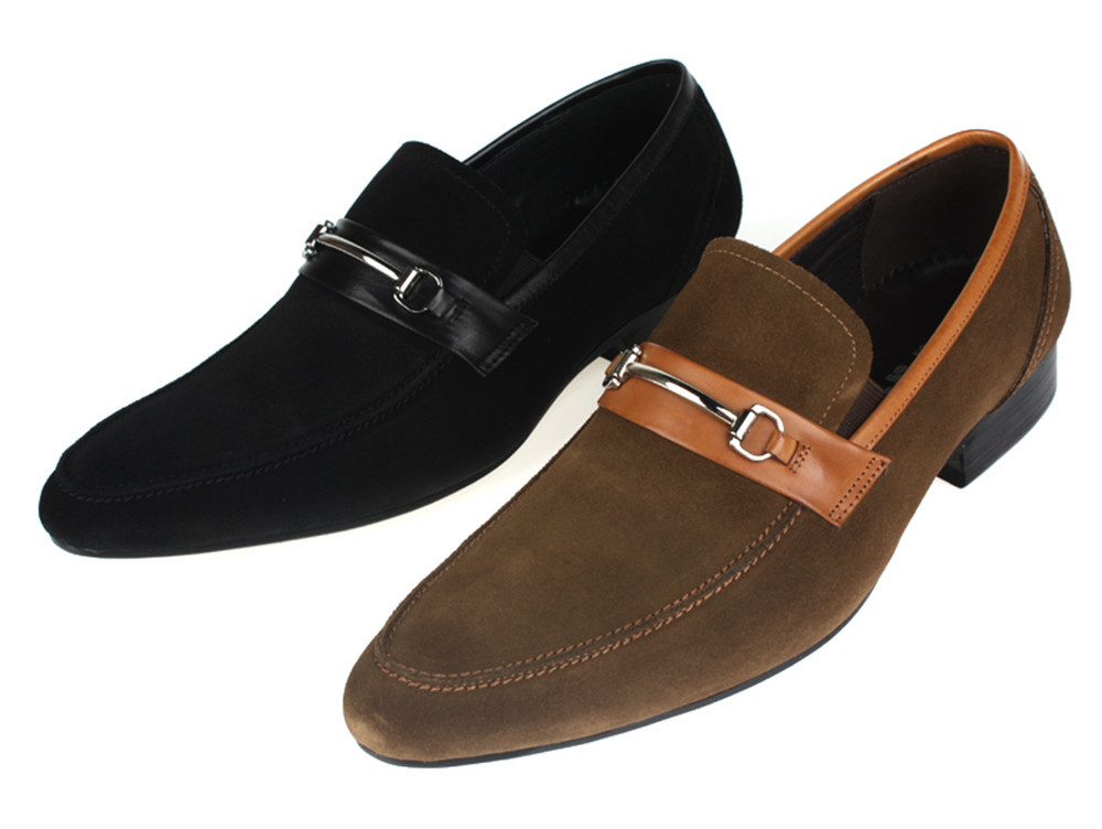 Fashion Black Brown Suede Flats Men Dress Shoes Genuine