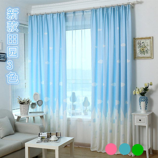Beau Pink Cartoon Curtains For Child Bedroom Cloud Castle Girls Boys Blue Tulle  Children Semi Blackout Green Curtain Customized P1263