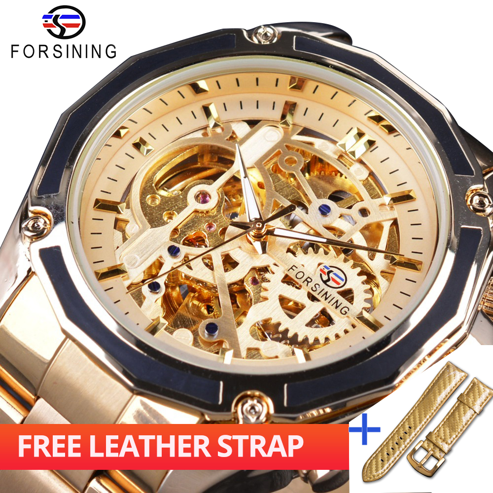 Forsining Watch + Band Set Combination Golden Steampunk Open Work Skeleton Mechanical Movement Mens Automatic Watches Top BrandForsining Watch + Band Set Combination Golden Steampunk Open Work Skeleton Mechanical Movement Mens Automatic Watches Top Brand