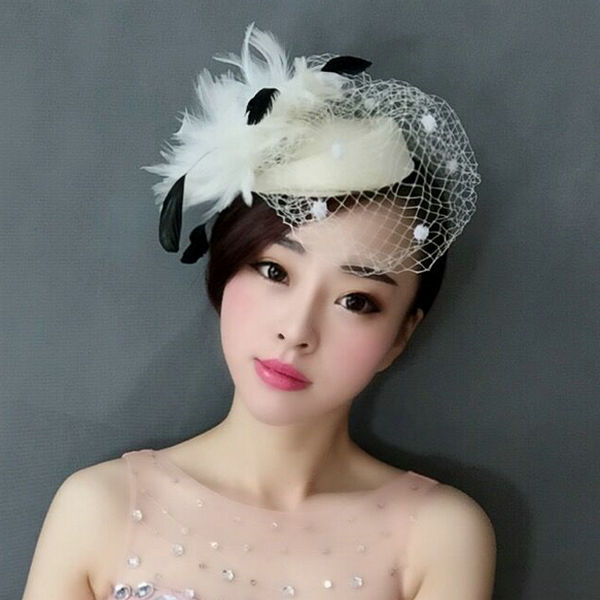 065561f7 Feather Veil Fascinator Mini Top Hat Hairpn England Royal Ladies Mesh  Fascinator Hair Clip Bride Headpiece Ivory Red Black Blue-in Hair  Accessories from ...