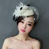 Pluma Del Velo Del Fascinator Mini Top Hat Hairpn Inglaterra Royal Damas Malla Fascinator Casco de La Novia Pinza de Pelo de Marfil Rojo Negro Azul