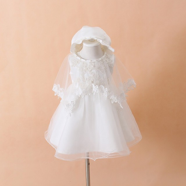 Baby Christening Gown White Tulle Infant Princess Baptism Dress Toddler  Baby Girls Party Wedding Dresses Size