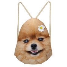 Funny Dog Pomeranian Print Boys Girls Drawstrings Bags Casual Children Backpacks Softback Students Beach Sack BagsSumka