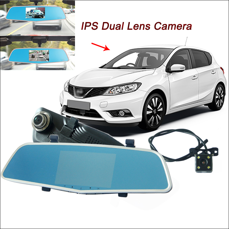 BigBigRoad For nissan Pulsar tiida Dual Cameras Car DVR Rearview Mirror Video Recorder FHD 1080P 5 inch IPS Screen Black Box carburetor carb for nissan a12 cherry pulsar vanette truck datsun sunny b210 pulsar truck 16010 h1602 16010h1602 16010 h1602