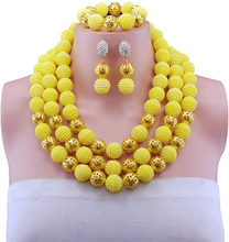 2016 Fashion yellow african beads necklace set 18k gold plated nigerian wedding african beads jewelry set Free shipping E-006