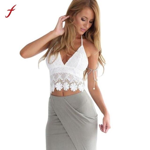 c76019bc74e69 Crop Top Women Bralette Lace Tank Top Crochet Halter Top Cropped Summer  Beach Tops Harness Camisole Haut Lingerie