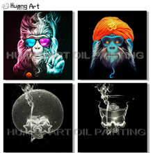 Hand-painted High Quality Canvas Art Monkey Oil Painting for Wall Decoration Palette Cool Arab Gorilla Monkey Oil Painting Skull high quality professional watercolor oil acrylic 36 wells painting art palette very large