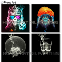 Hand painted High Quality Canvas Art Monkey Oil Painting for Wall Decoration Palette Cool Arab Gorilla Monkey Oil Painting Skull
