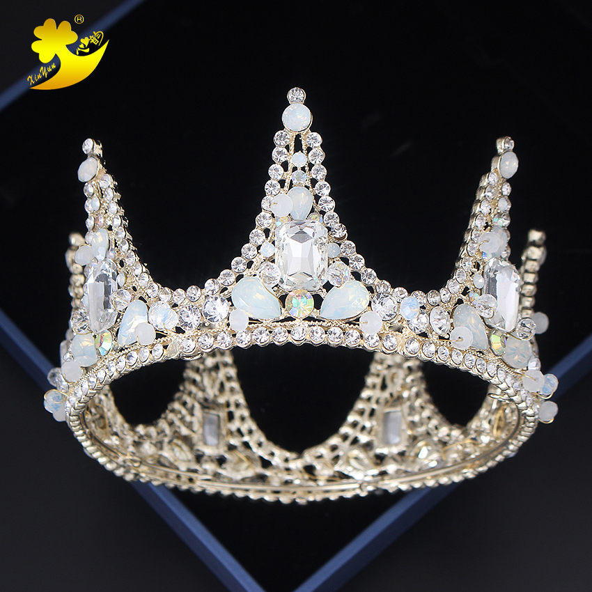 Xinyun 11.7CM Dia Full Round Wedding Crown Coroa Noiva Diadeem Fashion Jewelry Womens Accessories Princess Crown and Tiaras