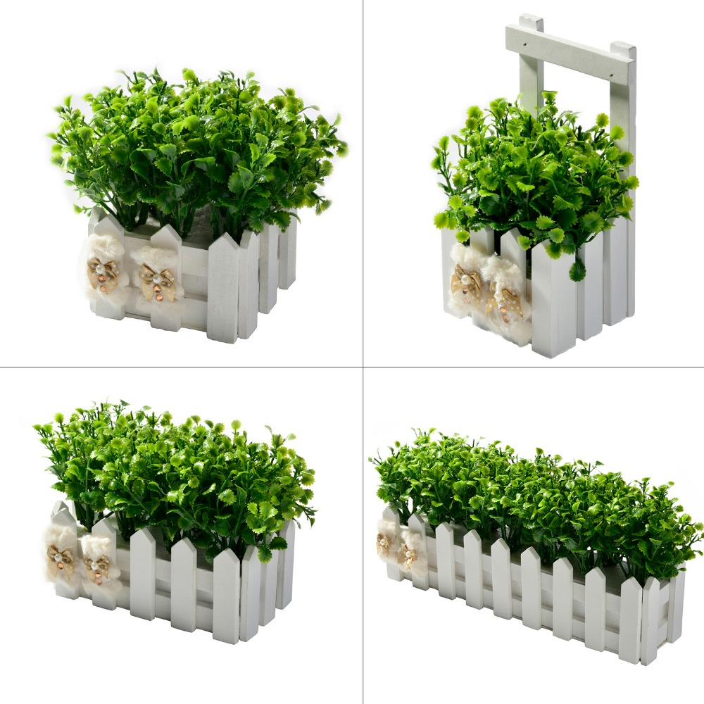 Peppermint Grass + Wooden Fence Mini Potted Plant Plastic Decorative Fake Flowers Bonsai Set For Living Room Garden Decoration