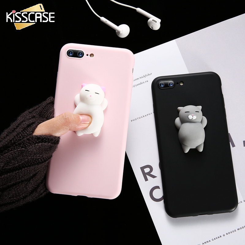 Squishy Cat Phone Case Iphone Se : KISSCASE For iPhone 5 6 6S 7 8 Plus Case Cute Cat 3D Kneading Bag Cover For iPhone 6 6 S Plus 5 ...