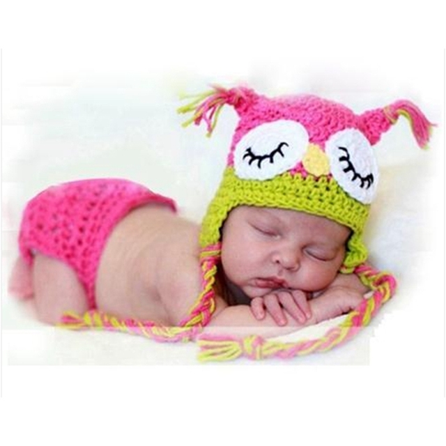 Handmade owl style baby girl photography props knitting infant hat bloomers set gorras bebe newborn