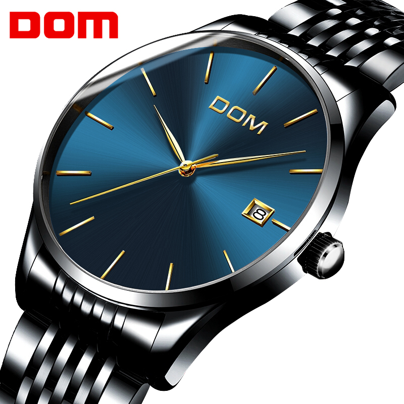 DOM Ultra Thin Watch Men Waterproof Analog Calendar Quartz Mens Watches Fashion Luxury Hours Relogios Masculino with Box