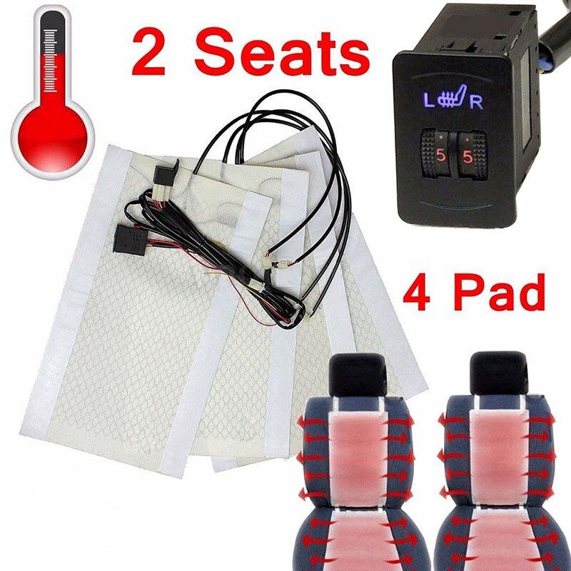 Nouveau Kit de chauffage universel pour siège de voiture 12 V SUV en Fiber de carbone coussin chauffant pour siège 5 interrupteur de niveau pour 2 sièges 88