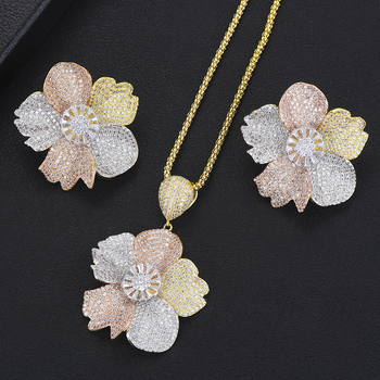 Brand Flower Pendant New Women Necklace Earrings Accessories Jewelry Set Full Micro Cubic Zirconia Paved Wedding Party