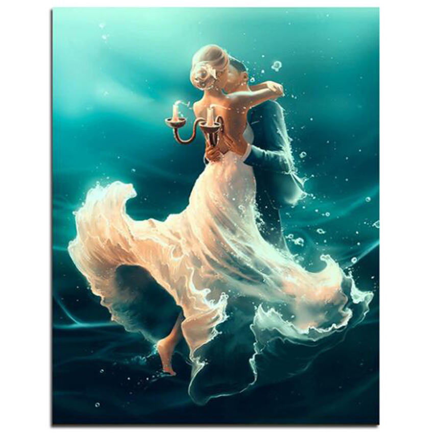 WEEN Couple Dancing DIY Painting By Numbers Lover Handpainted Canvas Painting Home Wall Art Picture For Living Room Unique Gift