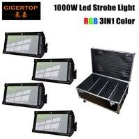 Gratis verzending 4 Unit RGB Led 1000W Strobe Bar Podium Verlichting Dezelfde Wit Licht voor Xmas party concert stage roadcase 4in1 Pack
