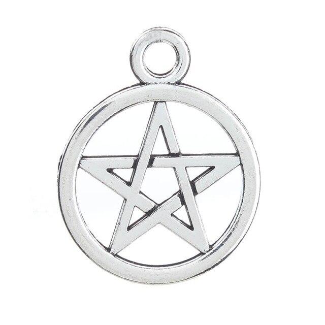 20 unids/lote 25*20mm pentagrama amuleto DIY accesorios de joyería para hacer collar pulsera pendientes colgante