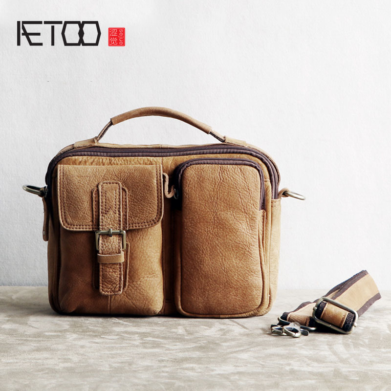 AETOO Handmade mad horse leather shoulder bag retro male leather diagonal men's bag leisure first layer of leather simple postma qiaobao 2018 new korean version of the first layer of women s leather packet messenger bag female shoulder diagonal cross bag